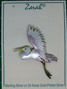 ZARAH Jewelry EGRET / CRANE / BIRD Brooch / Pin Sterling Silver Enamel on card
