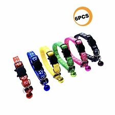 New listing Paccomfet 6 Pcs Breakaway Cat Collar Adjustable Colorful Nylon Safety Pet Col.