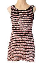 MELA LOVES LONDON Sleeveless mini dress - M UK size 12 floral pink, black lining