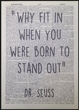 Dr Seuss Quote Print Vintage Dictionary Page Picture Wall Art Born To Stand Out