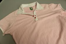 Lafdies LPGA Golf Polo Stretch Poly Cotton Baby Pink White Collar 12 LPGA Print