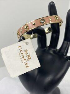 New Coach Bracelet Enameled Grommets and Rivets Bangle F90512 Gold Blush J4