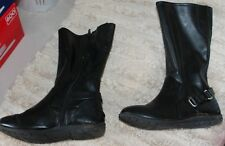 Payless SMARTFIT Girls' Size 2 BOOTS (black faux leather w/ side zipper) GUC