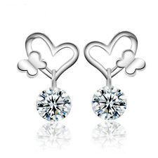 Womens Butterfly Crystal Drop/Dangle Heart-shaped Earrings Silver Plated Jewelry