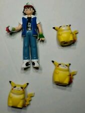 3 Vintage FAT Pikachu TOMY Pencil Topper & Ash Ketchum CGTSJ Mini Figure Toy Lot