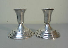 """Vintage Pair INTERNATIONAL Sterling Silver 3.75"""" Candlesticks, #104, Weighted"""