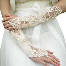 Satin Lace BRIDAL WEDDING FANCY DRESS COSTUME GOTH HALLOWEEN Fingerless Gloves