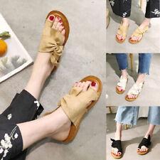 Women's Bow Slippers Sandals Flat Bottoms All-match Shoes Lightweight Flip Flop