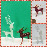 50's 60's Vtg Handblown Glass REINDEER Deer Christmas Ornament Figure Lot of 2