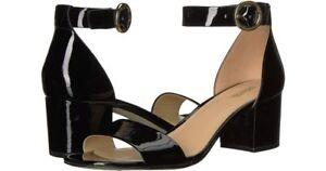 New Michael Kors women's Lena Mid Patent  Black Heel Sandals Sz 8M