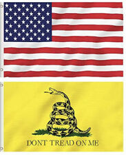 3x5FT 2 Pack American US Flag and Gadsden Don't Tread on Me Flag Double Stitched