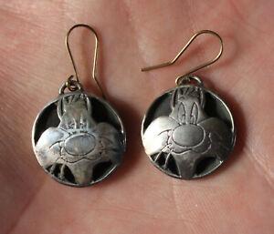 Vtg Robert Lee Morries Sylvester The Cat Earrings Warner Silver Looney Toons RLM