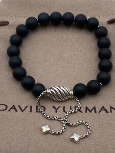 David Yurman Sterling Silver 8mm Matte Black Onyx Spiritual Beads Bracelet