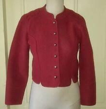Giesswein Boiled Wool Womens 8 Austria Dress Red Sweater Jacket Coat Tirol Maser