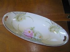 Vintage Long Germany Marked Yellow w Pink & White Dahlia Flowers Painted Dish