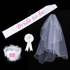 Bride To Be Rosette Badge Sash Garter Veil Hen Night Bachelorette Party Decor