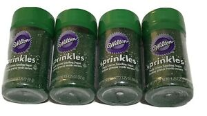(4) Wilton Sprinkles Dark Green Sanding Sugar 3.25 Oz Each B