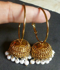 Antique Vintage Gold Plated Jhumki with 5 cm DIameter Ring Earrings Pearl Set
