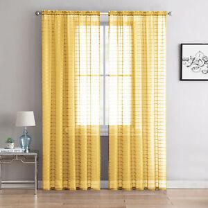 Yellow Single (1) Sheer Rod Pocket Window Curtain Panel  63L Plaid/Check Design