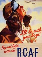 GUERRA di Propaganda Seconda Guerra Mondiale Canada RCAF Pilota Combattimento Volo Art Print posterbb 7173b