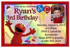ELMO Sesame Street BIRTHDAY PARTY INVITATIONS W/PIC