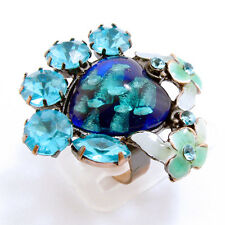 Bague Fantaisie Ajustable Bleu Résine Cristaux - Fancy Ring  Blue Resin Crystal