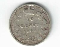 CANADA 1900 10 CENTS DIME QUEEN VICTORIA STERLING SILVER CANADIAN COIN