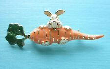 Older Costume Jewelry - Goldtone Bunny With Carrot Pin (Green.Orange 00004000 .White)