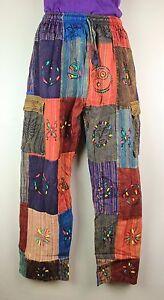 S-5XL Patchwork Casual Cotton Trousers Hippie Yoga Pants Festival Combat HT12