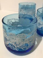 Set Of 4 Vintage Blue Glasses with White Lace Floral Embossing