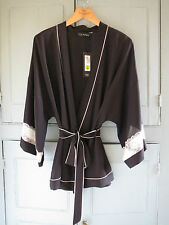 New M&S Rosie Autograph Black with Cream Lace Front Tie Pyjamas UK 12 EUR 40