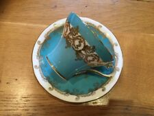 AYNSLEY TURQUOISE  BLUE CUP & SAUCER WITH GOLD GILDING BONE CHINA