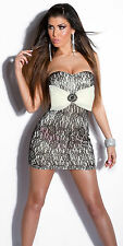 SEXY MINI DRESS WHITE BLACK LACE GOLD  TUBE BUSTIER BOW CABOCHON BROOCH PARTY S