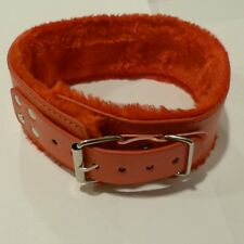 PV Leather Red fur lined collar & Lead CO-41-Red, FREE  UK DELIVERY