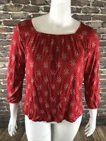 New Old Navy Womans Relaxed Boho Top Blouse Red Print Medium Long Sleeve NWT