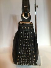 Designer Robert Pietri, Black Studded Leather  Hobo Handbag
