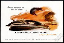 1949 Kaiser-Frazer sedan car fall leaves art vintage print ad