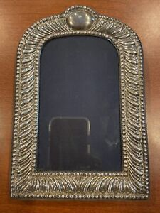 "Sterling Silver Picture Frame 3 1/8"" x 5 3/8"" Velvet Backing British Hallmarks"