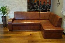 Braun Echtleder EckSofa Couch mit Schlaf Funktion Echtes Leder Eckcouch Sofa