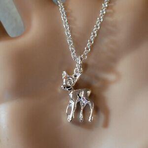 new sterling silver bambi deer pendant & chain