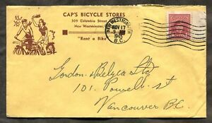 p562 - NEW WESTMINSTER BC 1943 Bicycle Store ADVERTISING Cover ✉