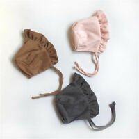 Princess Infant Bonnet for Girls Cotton Baby Hat for 3-8 Months Khaki/Pink/Gray