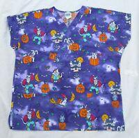 Halloween Cat Dog Purple Vet Uniform Medical Nurse Scrubs Top Shirt Women Size L