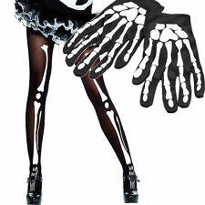 Guanti e Collant Scheletro Ossa Print BLACK GHOST Halloween Costume