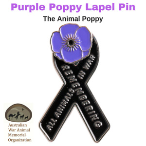 Purple Poppy Pin - Animal Poppy - All Animals Remembered