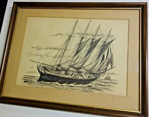 Black-ink Etching - E. Starr Jones- Off White Mat & Walnut Frame 1960's Vintage