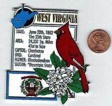 WEST VIRGINIA STATE MONTAGE FACTS MAGNET with state  bird  flower  and flag,