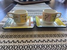 Set of 2 Brunelli Espresso Cups & Saucers ~ Made in Italy ~ Lady Chef Motif ~