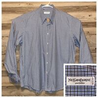 Yves Saint Laurent Italy Shirt Mens Size 44 17.5 Button Up French Cuff Checkered