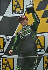 Randy de Puniet Hand Signed Kawasaki MotoGP 2007 12x8 Photo Podium.